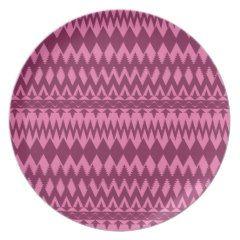 Bold Girly Magenta Pink Chevron Tribal Pattern Dinner Plates
