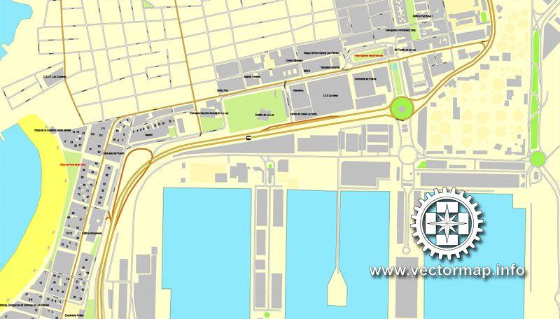 Las Palmas Spain printable vector street City Plan map full
