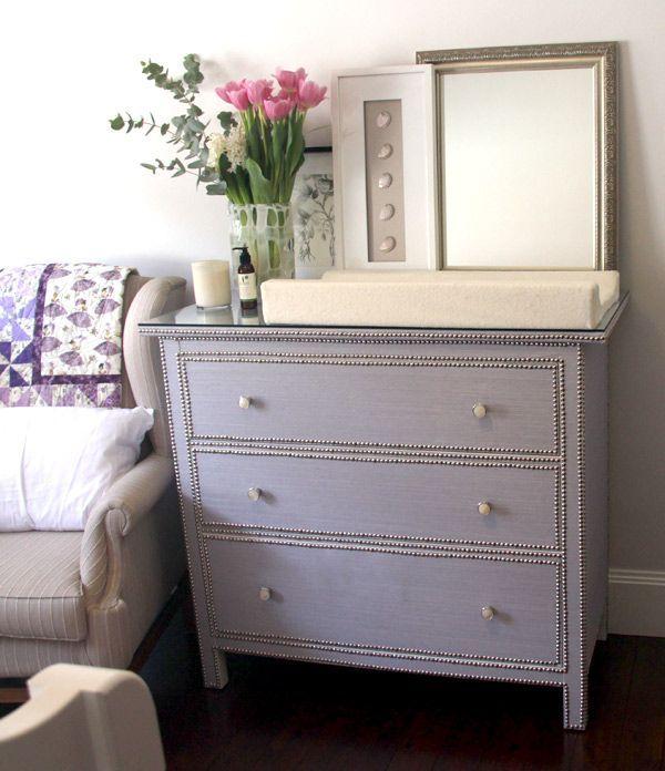 Grasscloth and nailhead Hemnes dresser