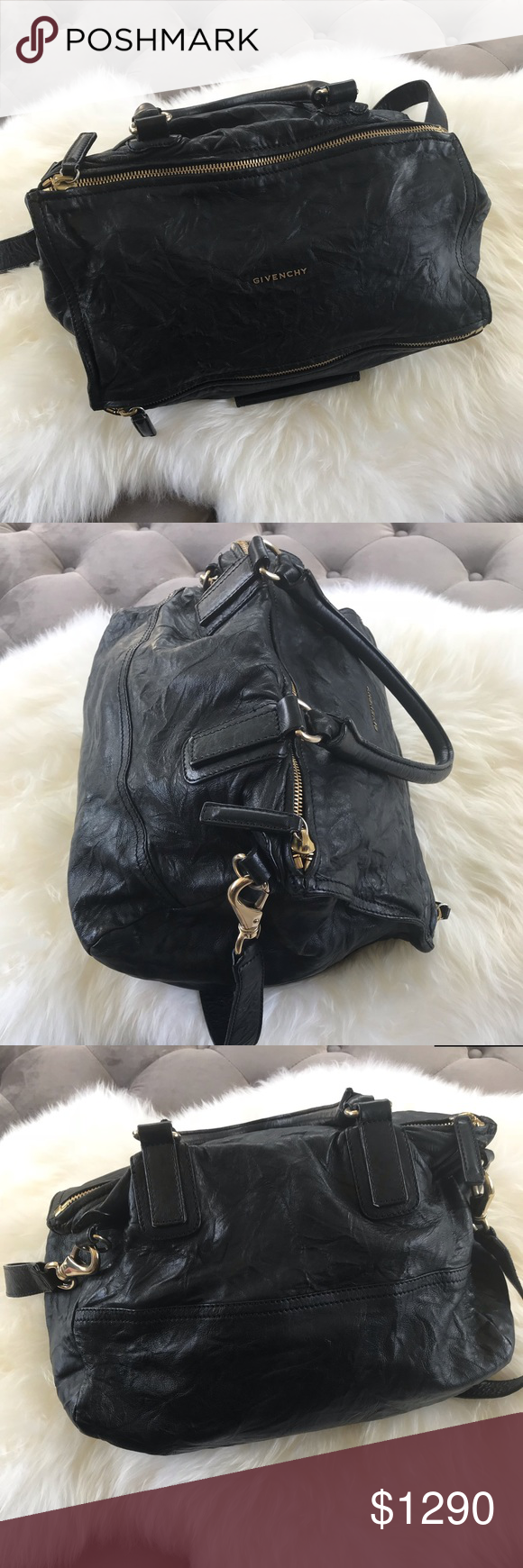 GIVENCHY large Pandora black Wrinkled Sheepskin Overall Condition  Gently  used Material  Black wrinkled sheepskin e036e37ddc633