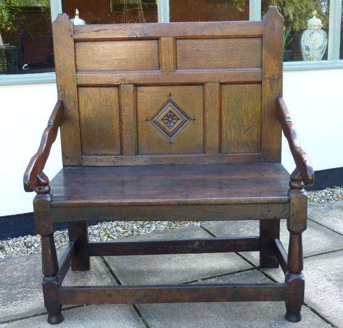 Terrific 17Th Century English Antique Oak Settle Bench Seat Of Small Beatyapartments Chair Design Images Beatyapartmentscom