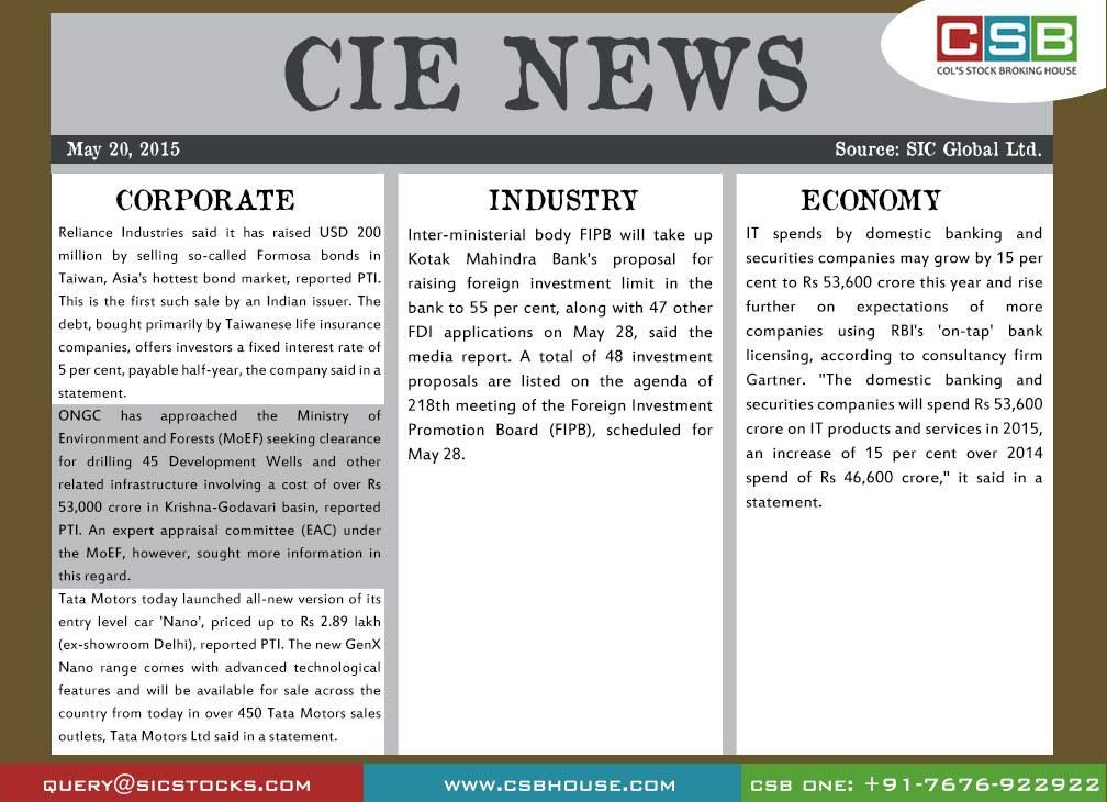 CSB CIE News (May 20, 2015) Bringing to you important