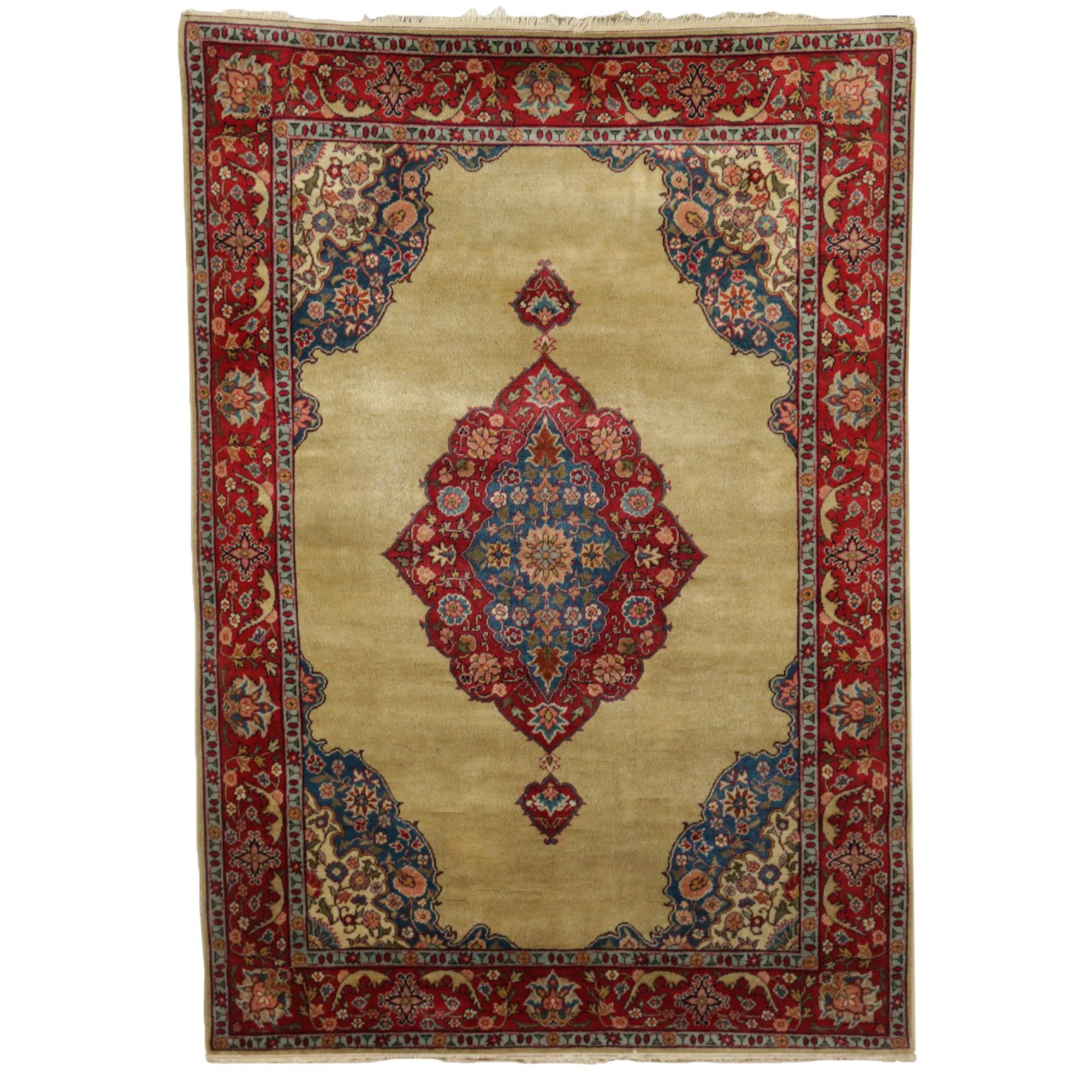 Handmade Yazd Rug Iran 1980s 1990s Rugs Carpet Antiques