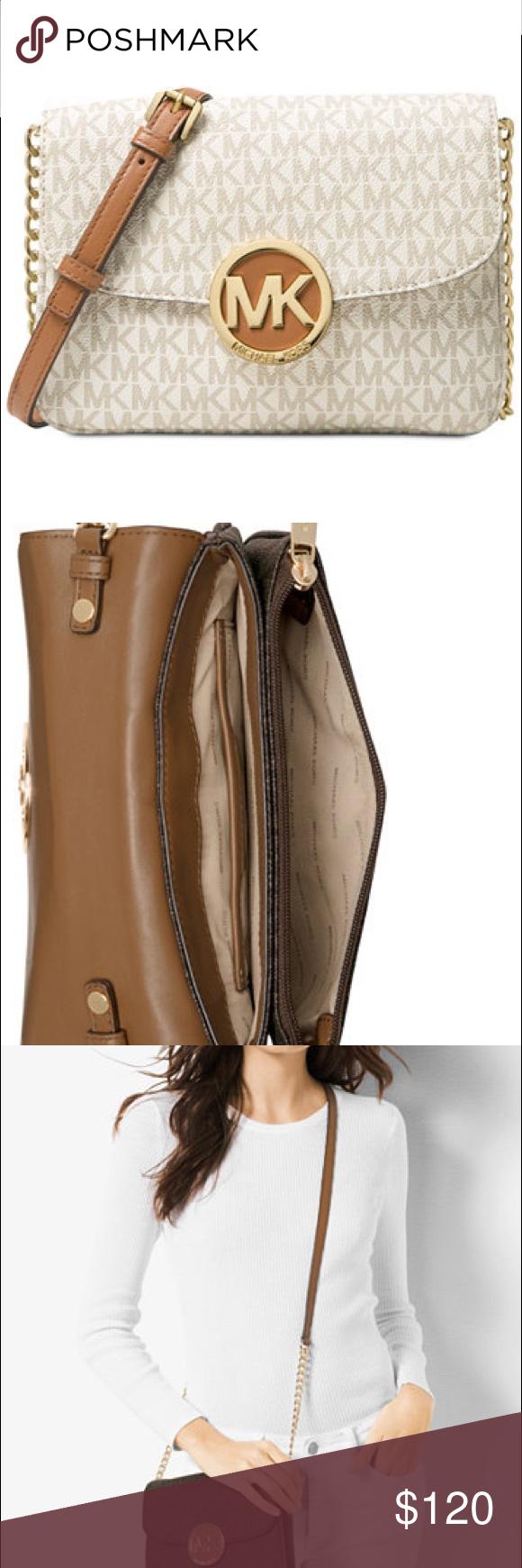 2358464b39e5 Michael Kors Vanilla Fulton Crossbody Bag Authentic Signature Michael Kors  Small Fulton Gusset Flap Crossbody Bag