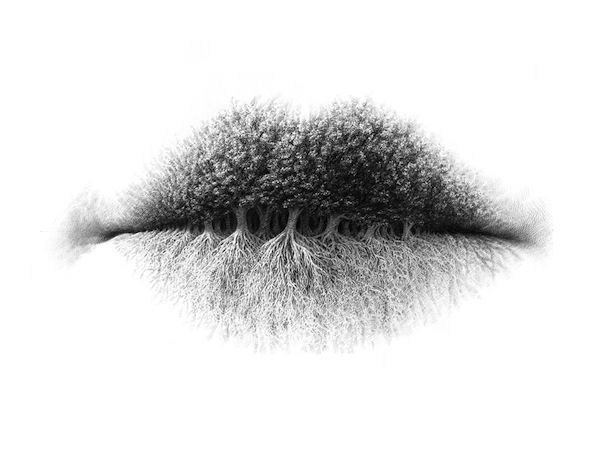 Intricate Pencil Drawings Of Lips Transform Their Creases Into Surreal Images - DesignTAXI.com