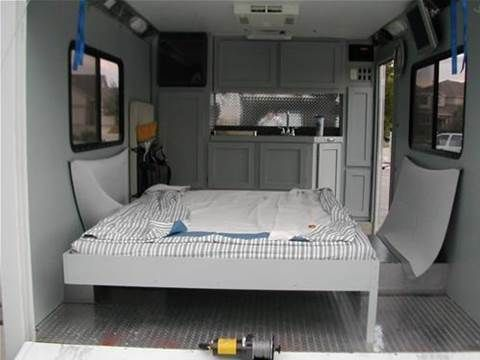 kitchen in our cargo trailer camper conversion full video at