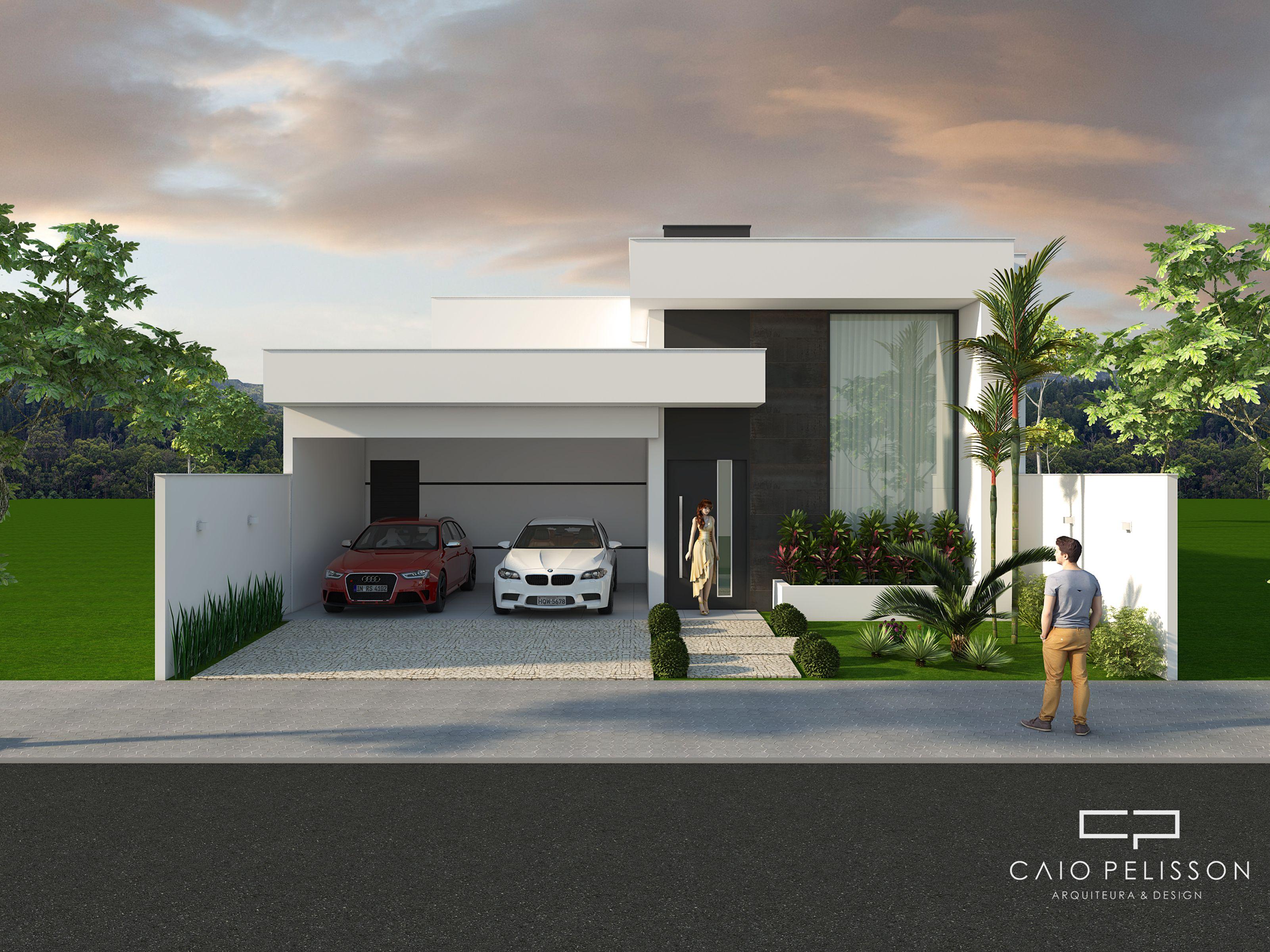 Fachada casa moderna t rrea terreno 12x25 hd em 2019 for Fachada de casas modernas