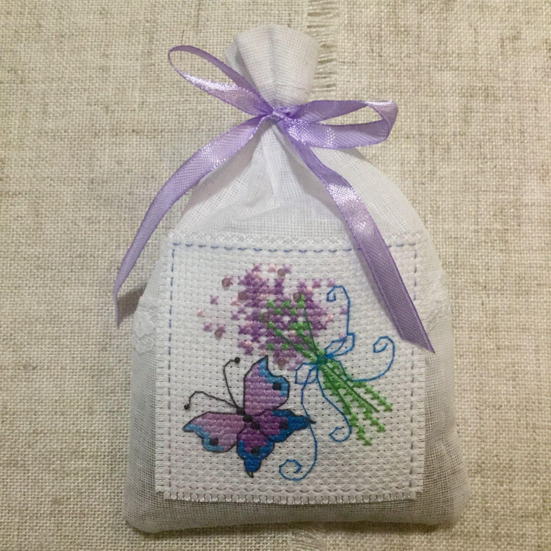 Handmade lavender sachet / cross stitch lavender sachet by BunnybearDesignsUK on Etsy