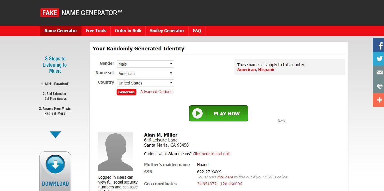 Fake Name Generator, as written on its name, it generates