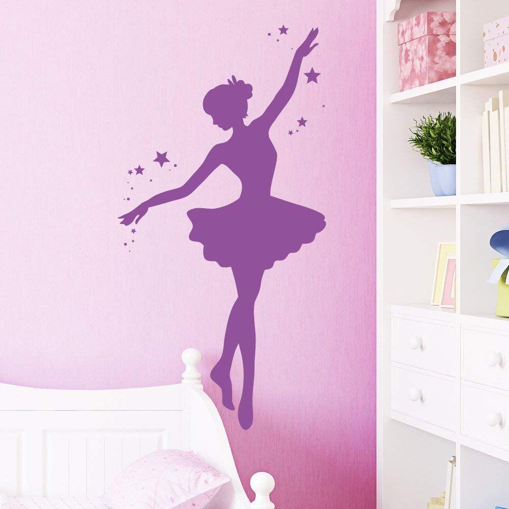 """Wandtattoo """"Ballerina mit Sternen"""" in Ihrer Wunschfarbe"""