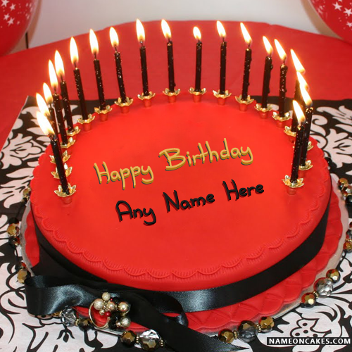 Candles Red Velvet Cakes For Happy Birthday With Name
