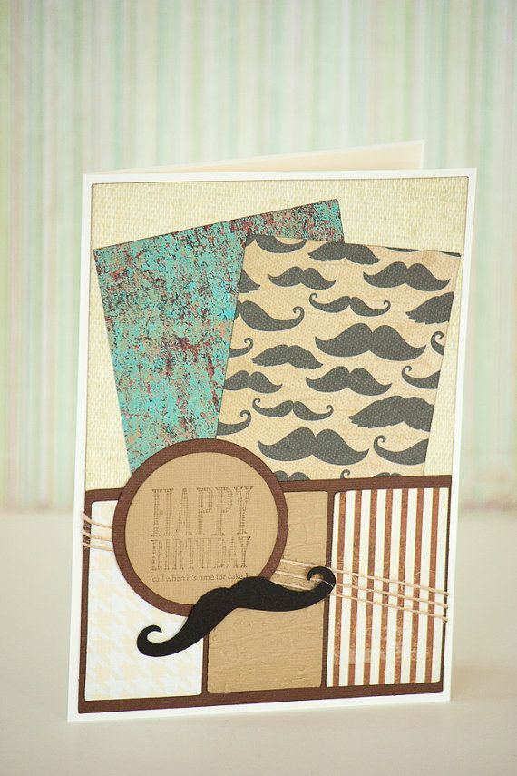 Happy Birthday Handmade Card for Men with Mustache and Twine Cord - Message: Call When it's time for Cake