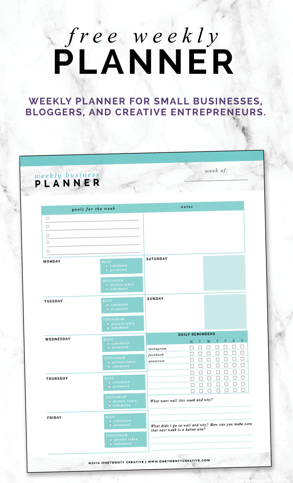 free weekly planner for small businesses bloggers and creative