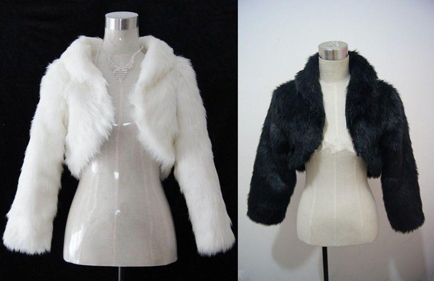 Stock_Black Ivory Faux Fur Long Sleeve Wedding Jacket Woman Bolero Coat Shrug  #Handmade #BoleroShrug