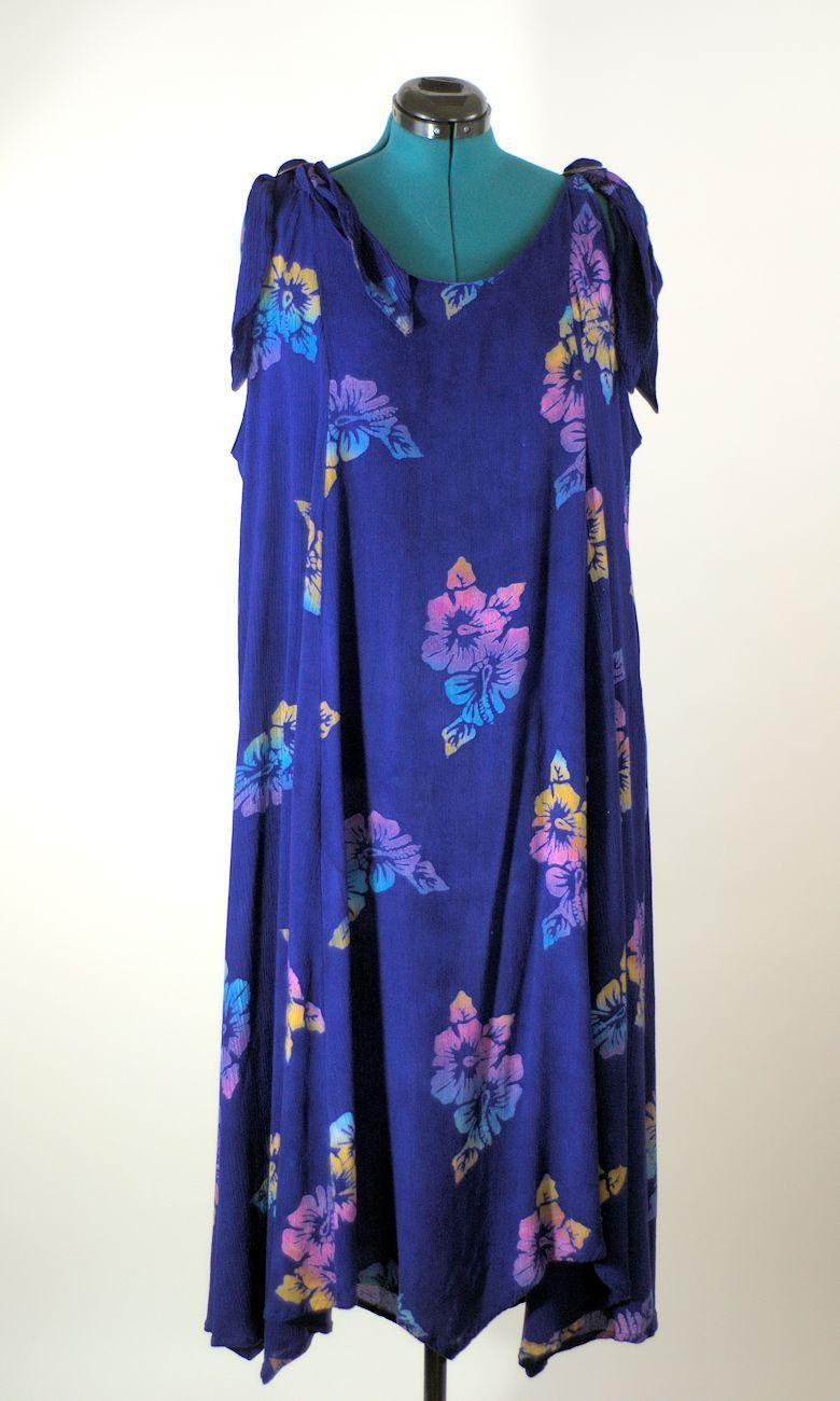 Modern Grecian Style Cotton Batik Dress, Plus Size | Robin\'s ...