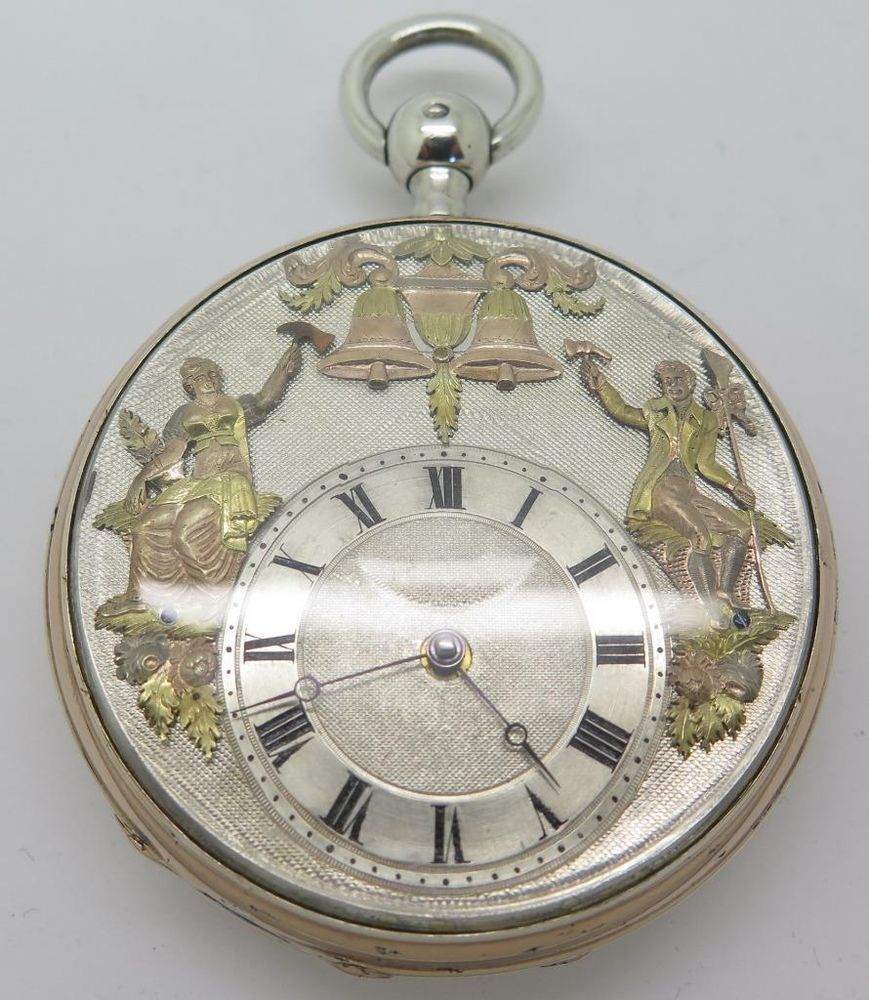 Antique French Silver & Rose Gold Quarter Repeater Automaton Fusee Pocket Watch