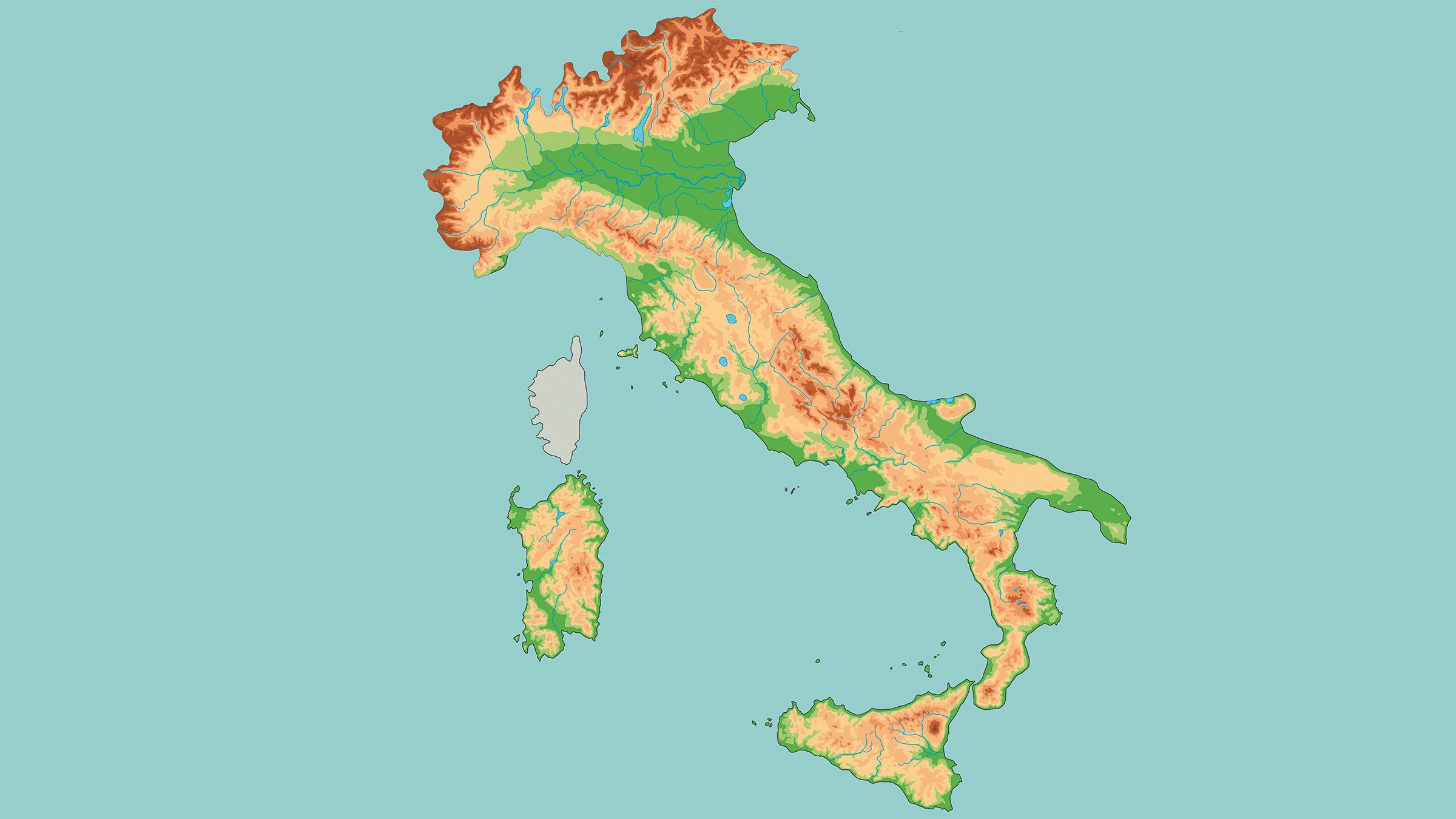 Mapa Físico Mudo De Italia Mapas Del Mundo Pinterest - Mapa de italia