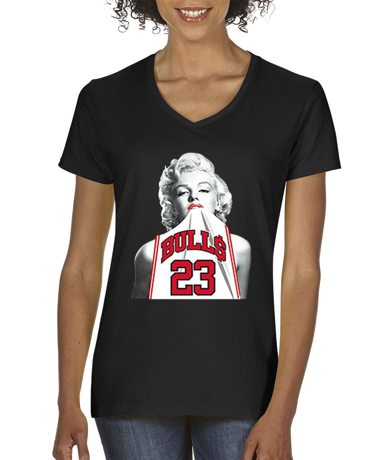 1cc1045b0e53 Way 193 - Women S V-Neck T-Shirt Marilyn Monroe Bulls 23 Jersey Jordan