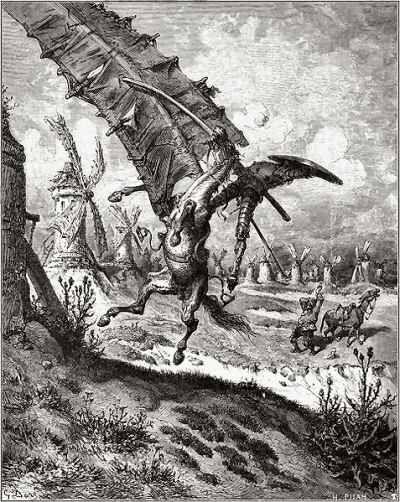 Gustave Dore, Don Quixote tilts at windmills.
