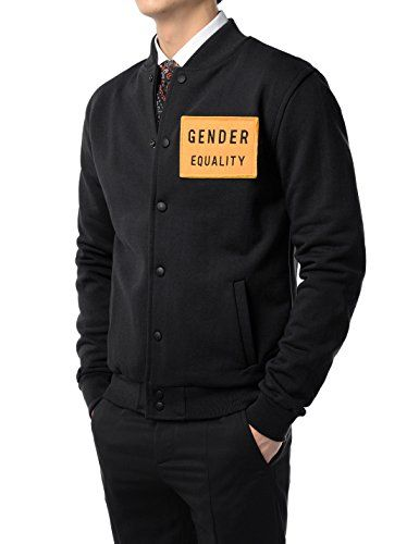 69e75e952ebb TheLees Mens Casual Chest Patch Varsity Baseball Bomber School Jacket BLACK  US S(Tag size