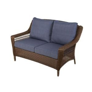 Hampton Bay Spring Haven Brown All-Weather Wicker Patio Loveseat with Sky Blue Cushions 66-20303 at The Home Depot - Mobile