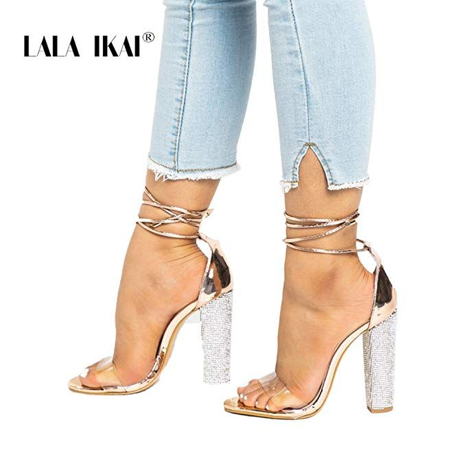 31b394a6f Women s Gold High Heels Sandals with Rhinestone Ankle Strappy Chunky Heels  Dress Party Pumps Shoes