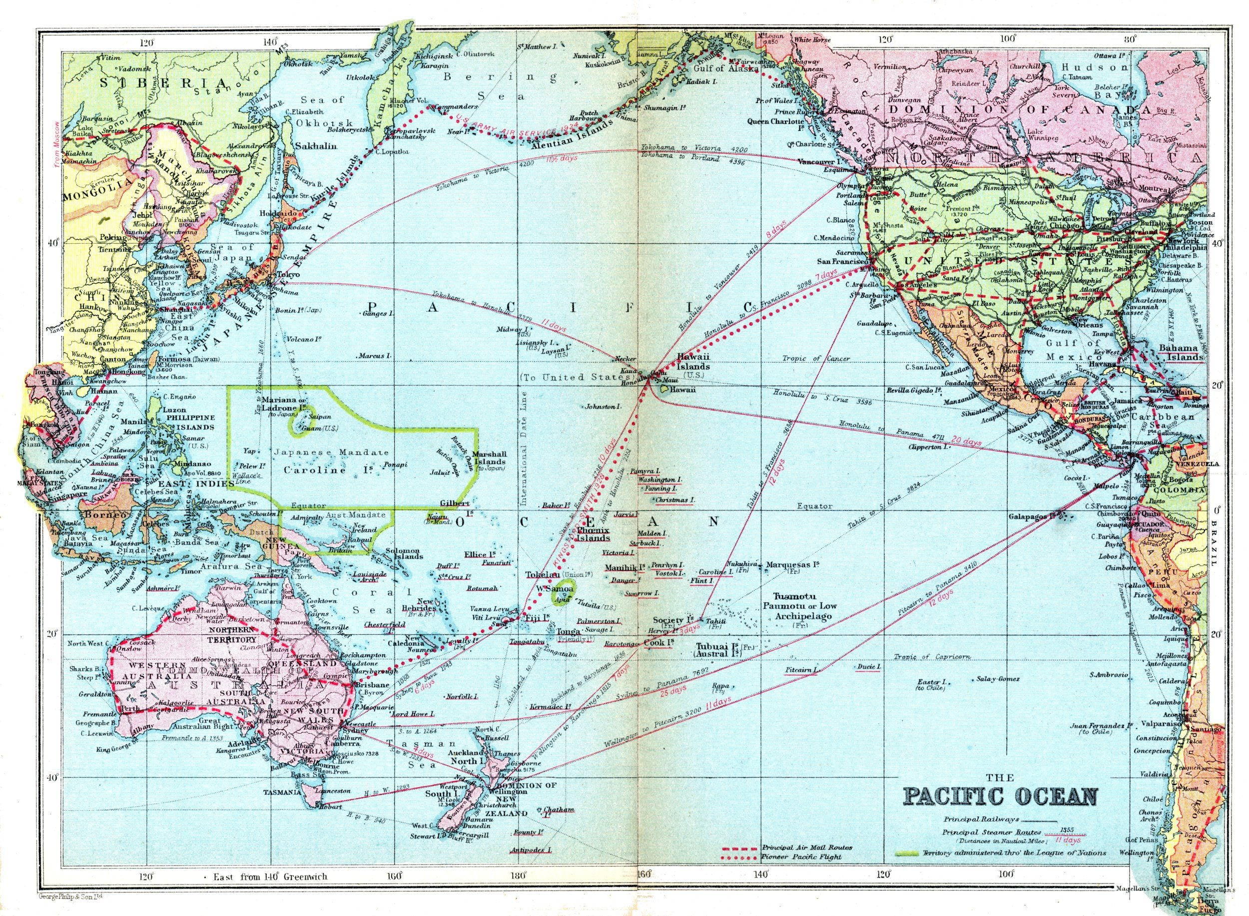 Image detail for -Free Map of Pacific Ocean 1936 from the ... on tahiti map pacific, garbage island pacific, war in pacific, world war ii pacific, world map pacific, silestone pacific,