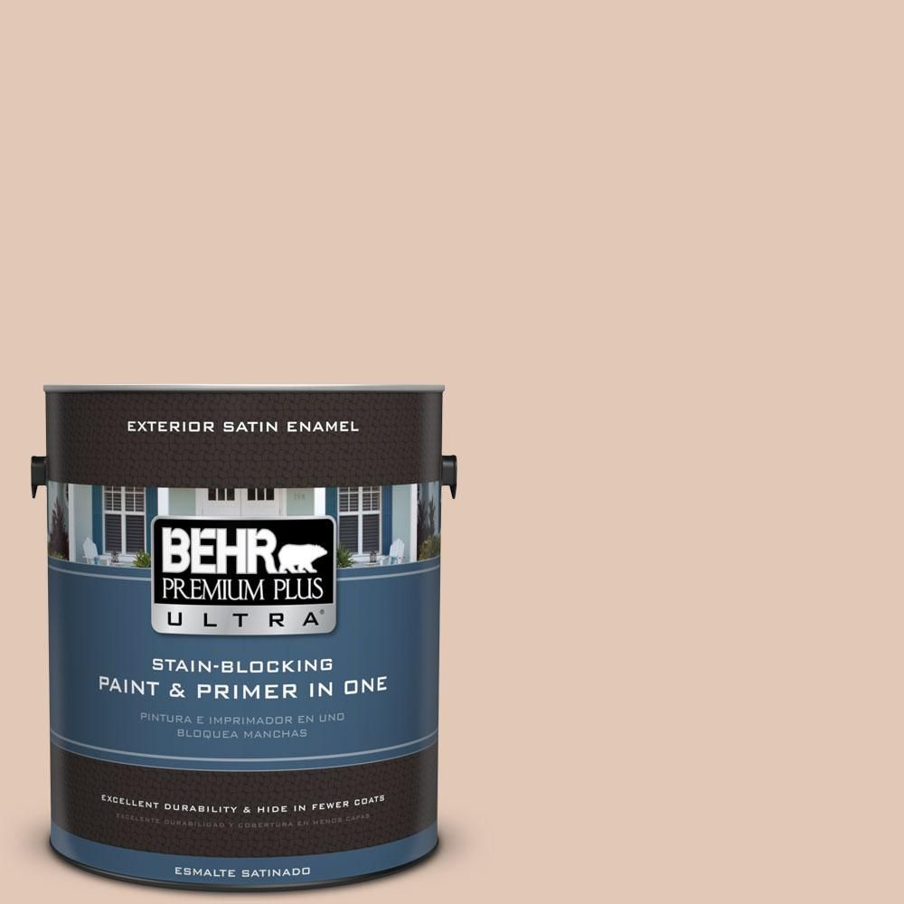 BEHR Premium Plus Ultra 1-gal. #290E-2 Oat Cake Satin Enamel Exterior Paint