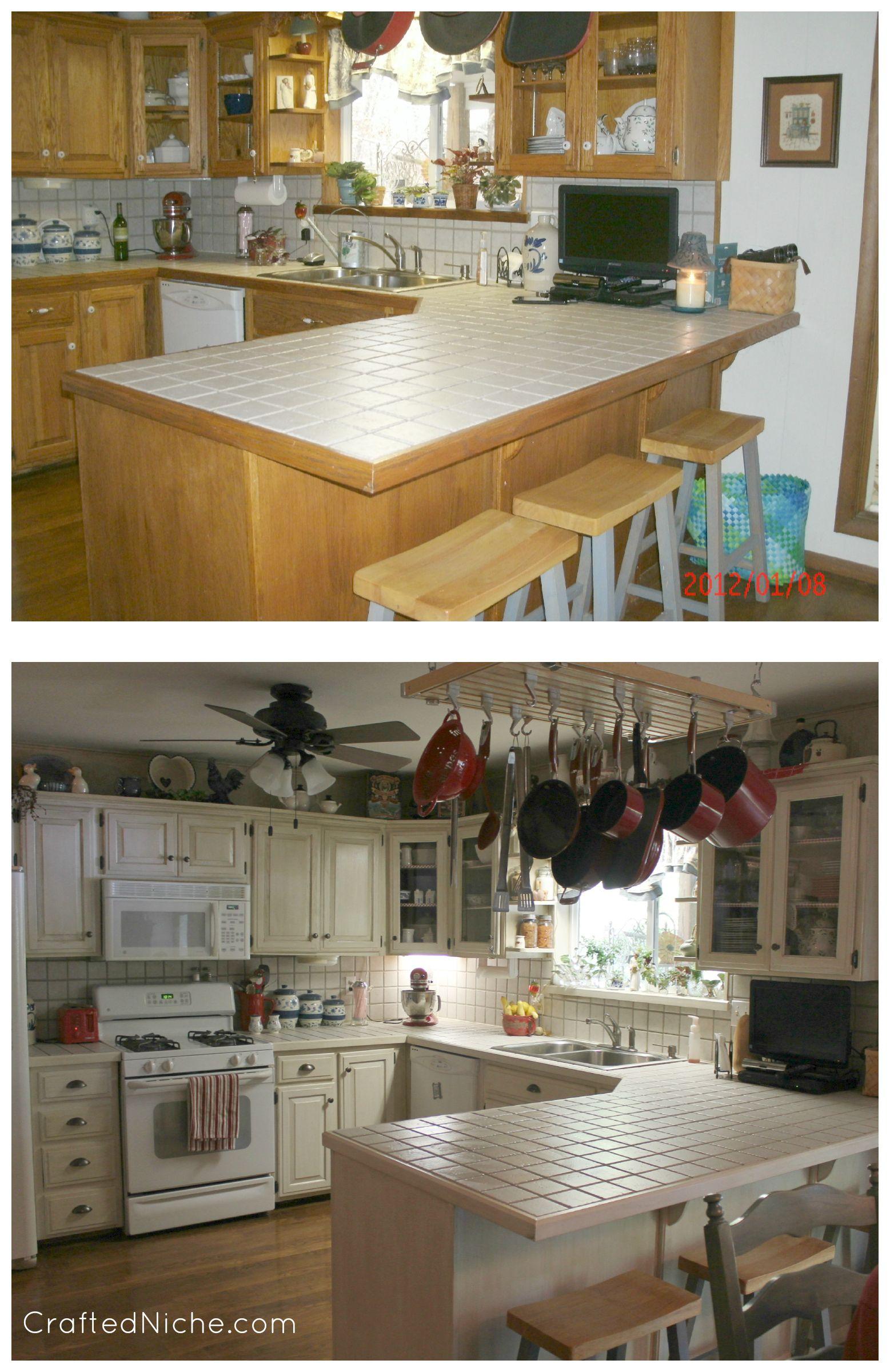 Pintar gabinetes de cocina ideas uk - Rustoleum Transformations Linen Before And After 3
