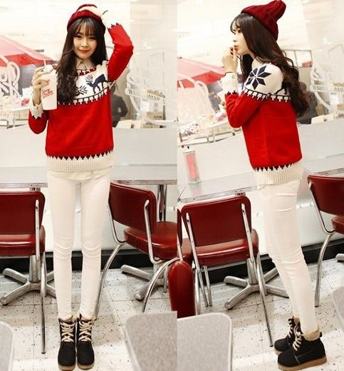 TC001051 Pattern autumn and winter fawn sweater for women
