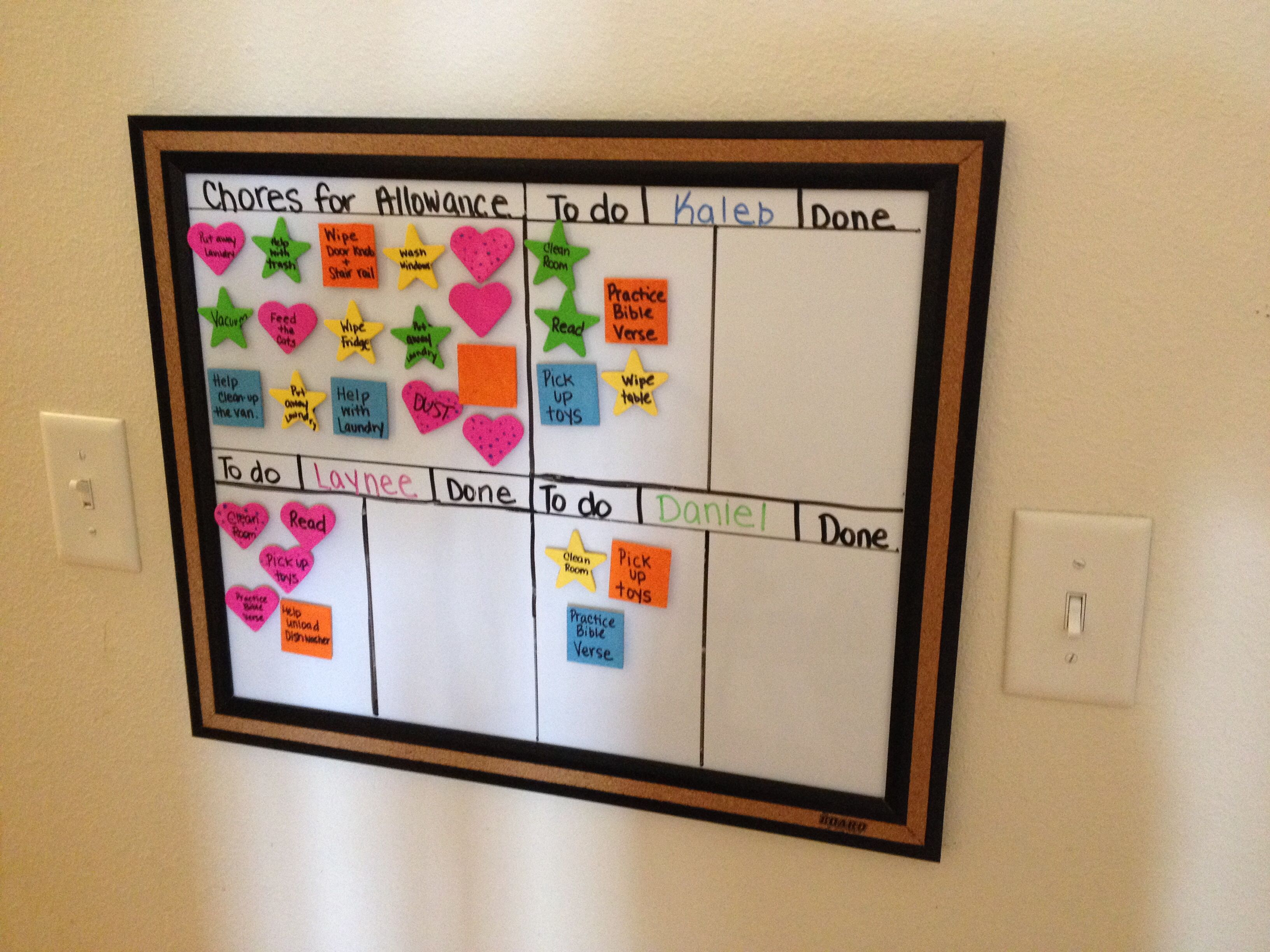 Chore chart for multiple kids