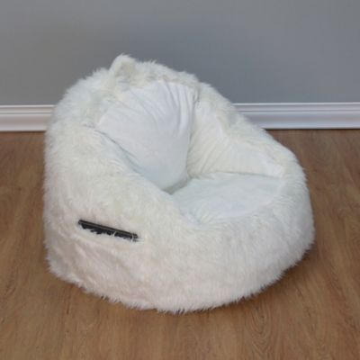 Structured Tablet Fur Pocket Bean Bag Chair In Cream Products