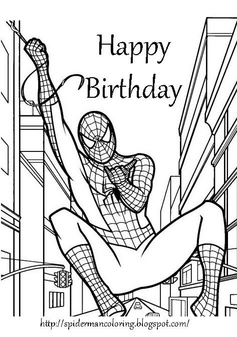 image relating to Free Printable Superhero Birthday Cards named Cost-free+Printable+Coloring+Birthday+Playing cards+for+boys SPIDERMAN