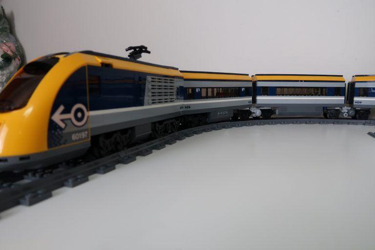 Dual Lego City Passenger Train 60197 Sets Modified With Jacobs Bogies Train Lego City Lego Trains