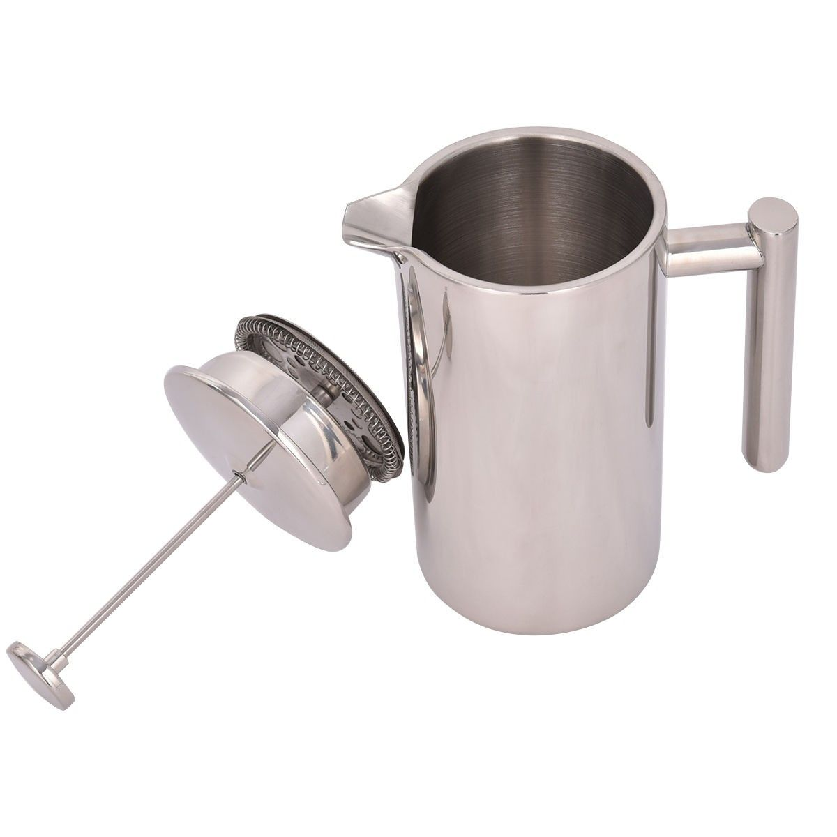 34 oz double wall stainless steel coffee plunger 8cup