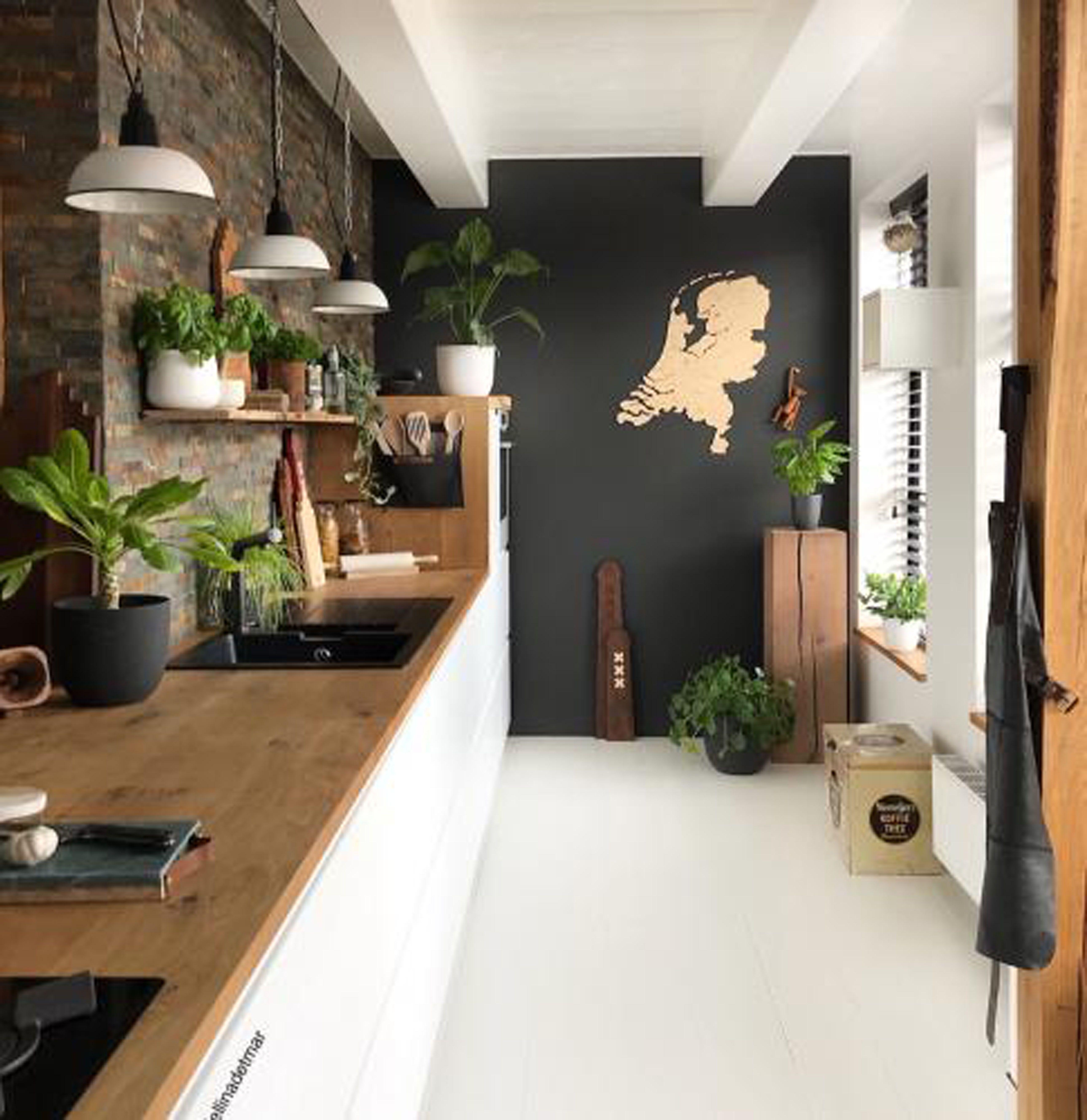Wonen In Een Stedelijke Jungle Met Een Industrieel Tintje En Gecombineerd Met Aardse Kleuren Ontdek De Natuu Zwarte Keukens Kleurrijke Keukens Huis Interieur