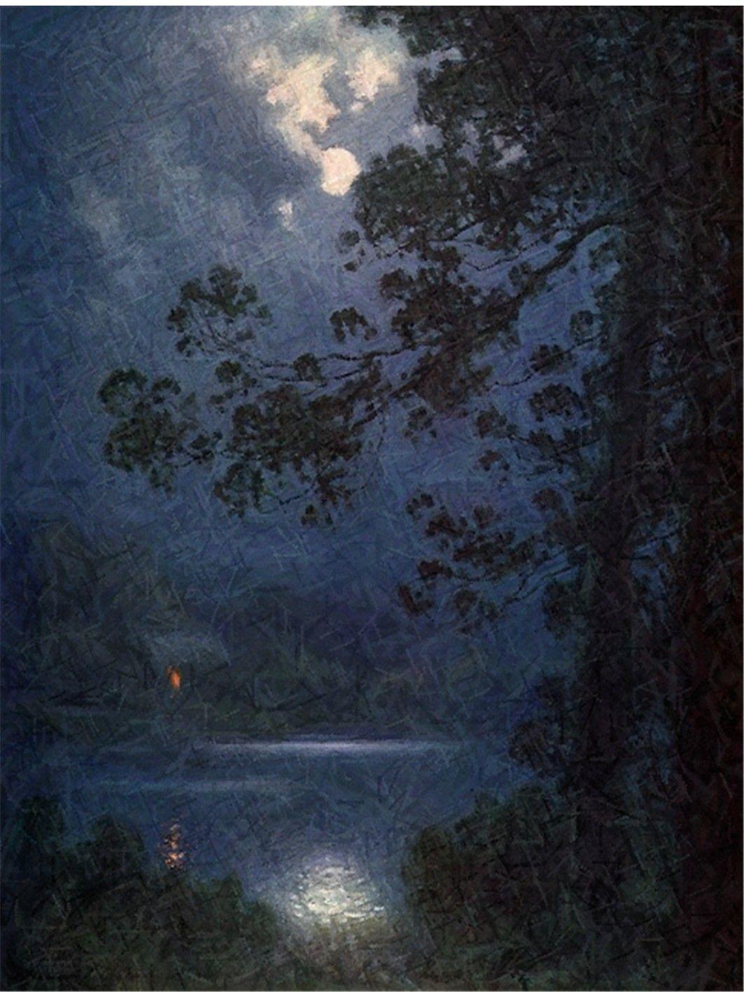Tania K Moonlight On The Brandywine River Moonlight Painting Night Sky Painting Landscape Paintings