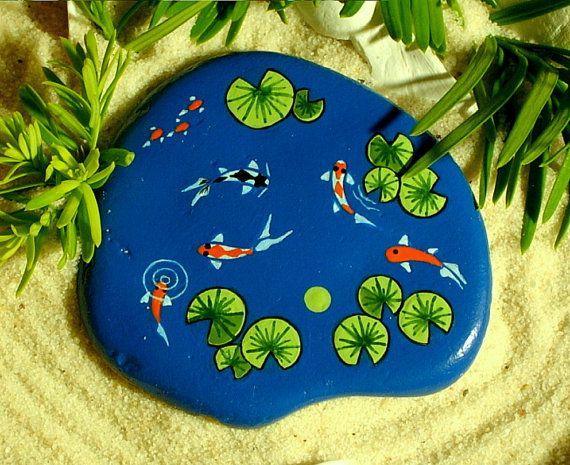 Koi pond miniature dish garden lagoon zen garden hand for Koi pond rocks