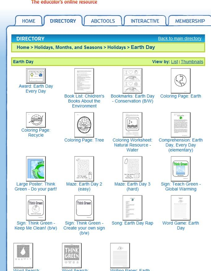 Free Earth Day Worksheets At ABC Teach Including A Book List Bookmarks Coloring Pages Poster Mazes Rap And Word Searches