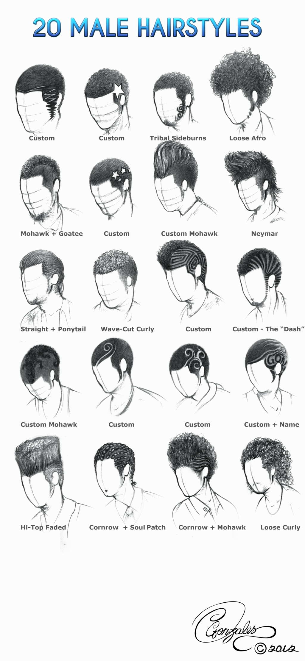 20 Male Hairstyles By Gunzy1 On Deviantart Drawing Hair Tutorial Curly Hair Drawing How To Draw Hair