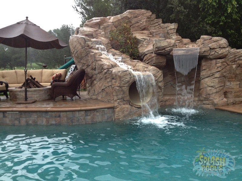 Swimming Pools With Slides And Waterfalls 15 Rock Waterfall With Slide Splash Pools Construction Chino Pool Waterfall Dream Pools Pool Houses