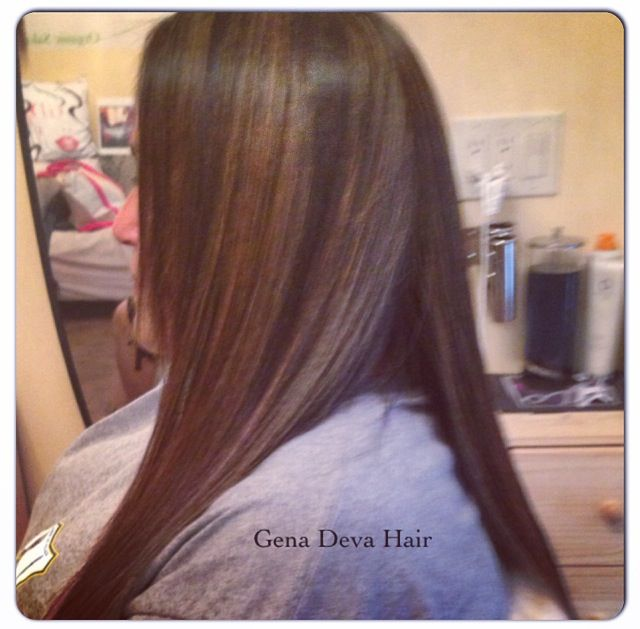 Full Head Of Highlights Before Organic Keratin Gena Deva Hair Gena