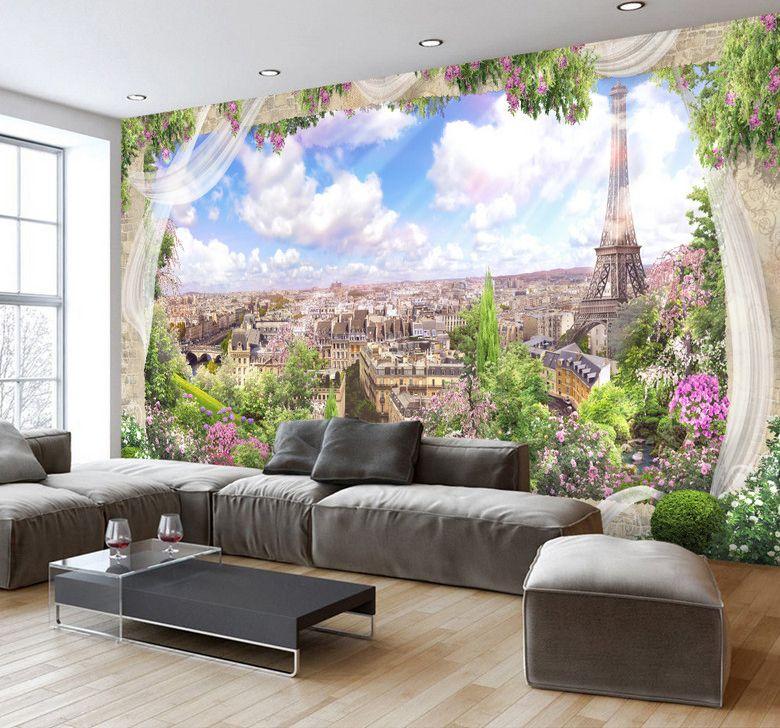 papier peint romantique trompe l 39 il 3d paysage magnifique de paris papier peint paysage. Black Bedroom Furniture Sets. Home Design Ideas