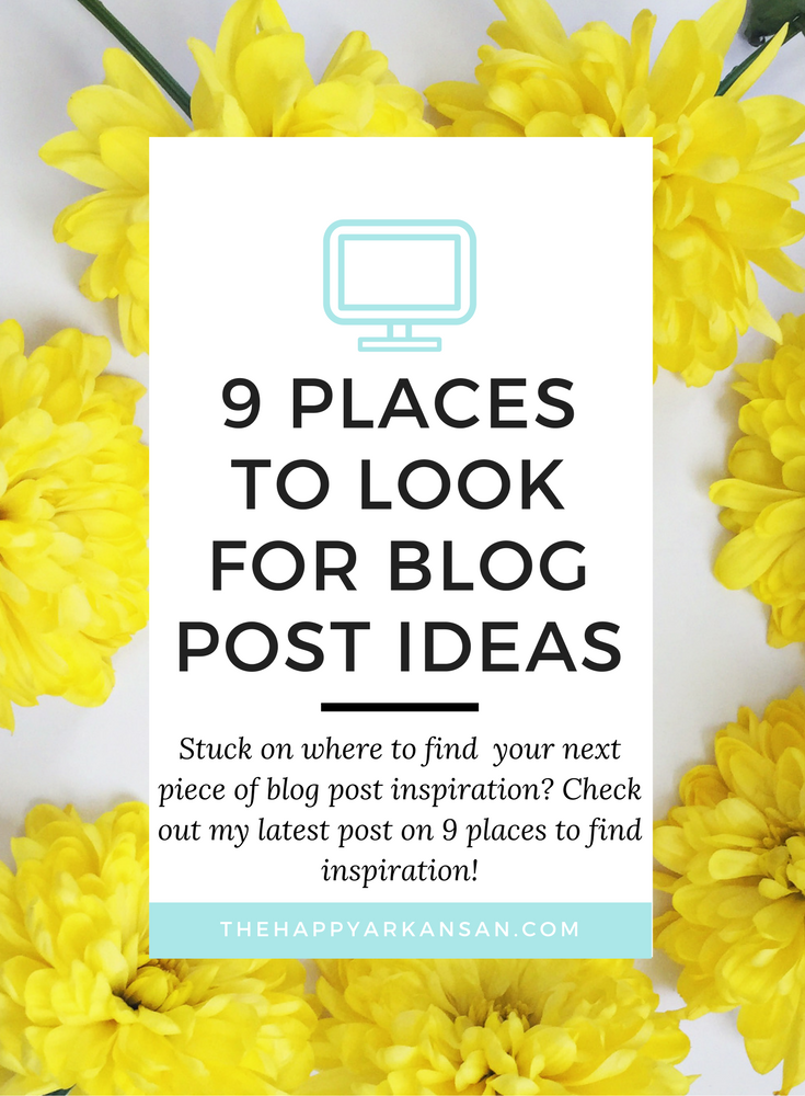 Blogging can be very difficult, especially if you have been blogging for a  while. Need some inspiration? Today's post is all about places to look for  blog post ideas. We all run low on ideas every blue moon, so I am hopeful  that this post will help you get your creative juices flowing.  1. Pinterest  Pinterest is one of my favorite places for new blog inspiration. You can  search for just about anything, and chances are the posts that are getting  the most traction will be the first…