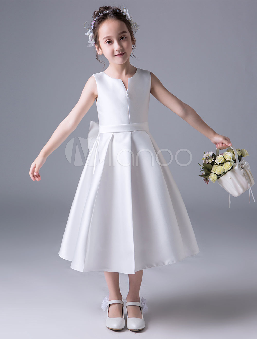 Photo of Girls' procession dress 2020 Ivory Satin A Line Pleated Knots …