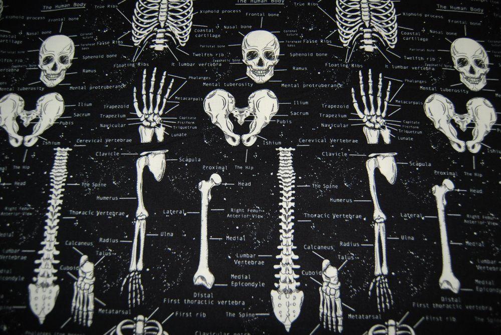 Glow In The Dark Skeleton Skull Black Quilt Cotton Fabric