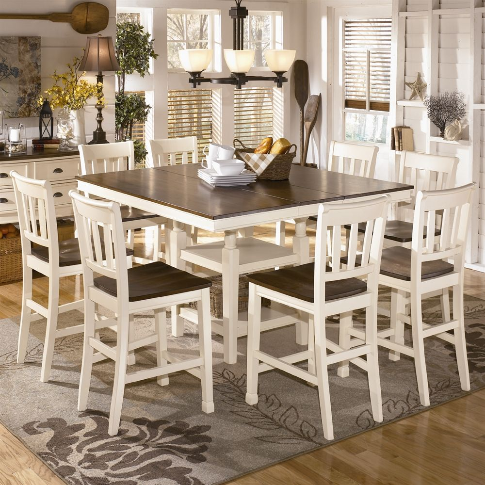 Shop Signature Design By Ashley Whitesburg 9 Piece Counter Height D Ashley Furniture Dining Table Counter Height Dining Room Tables Counter Height Dining Sets