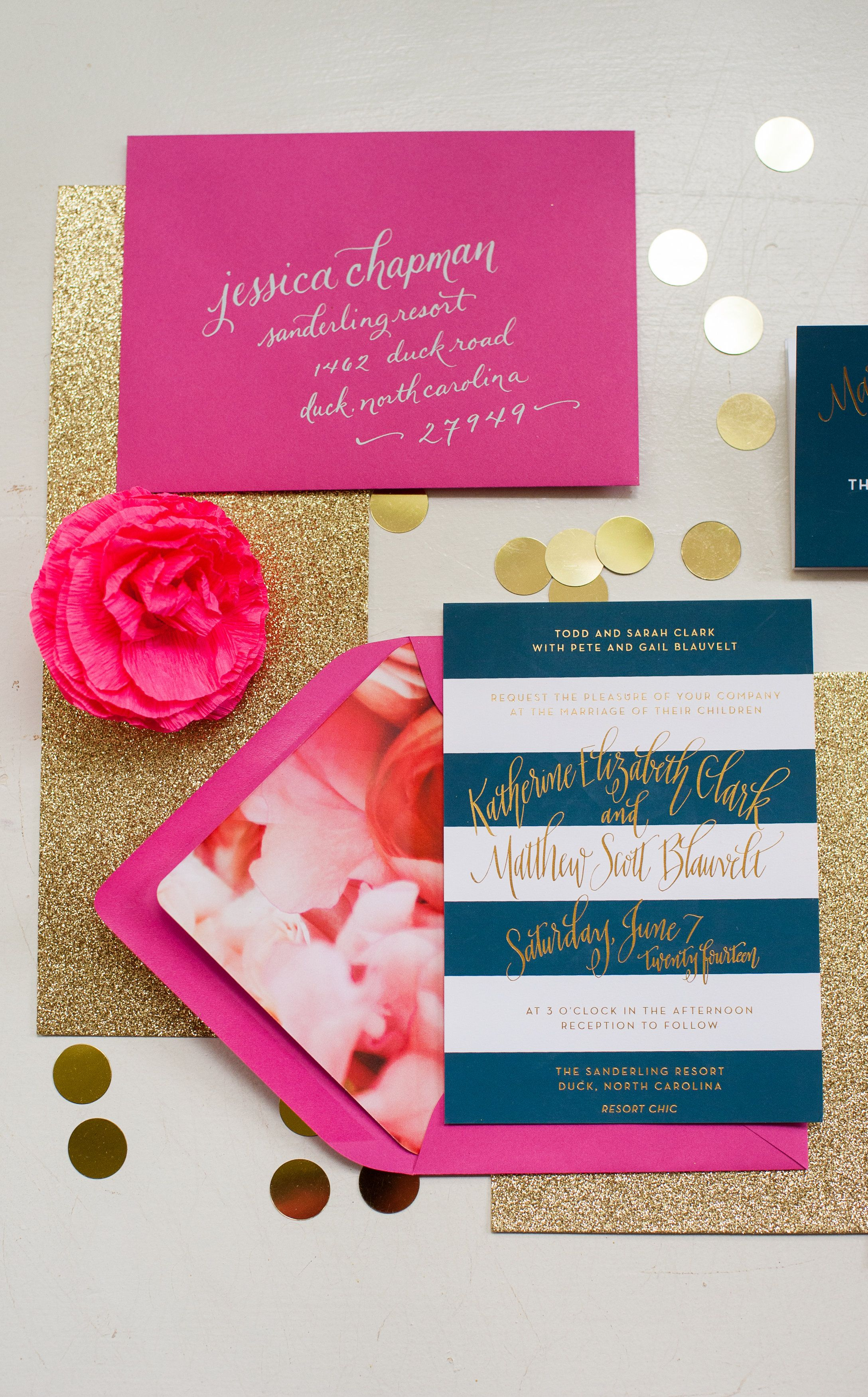 Preppy Navy, Gold and Fuchsia Stationery Suite by Fig. 2 Design I ...