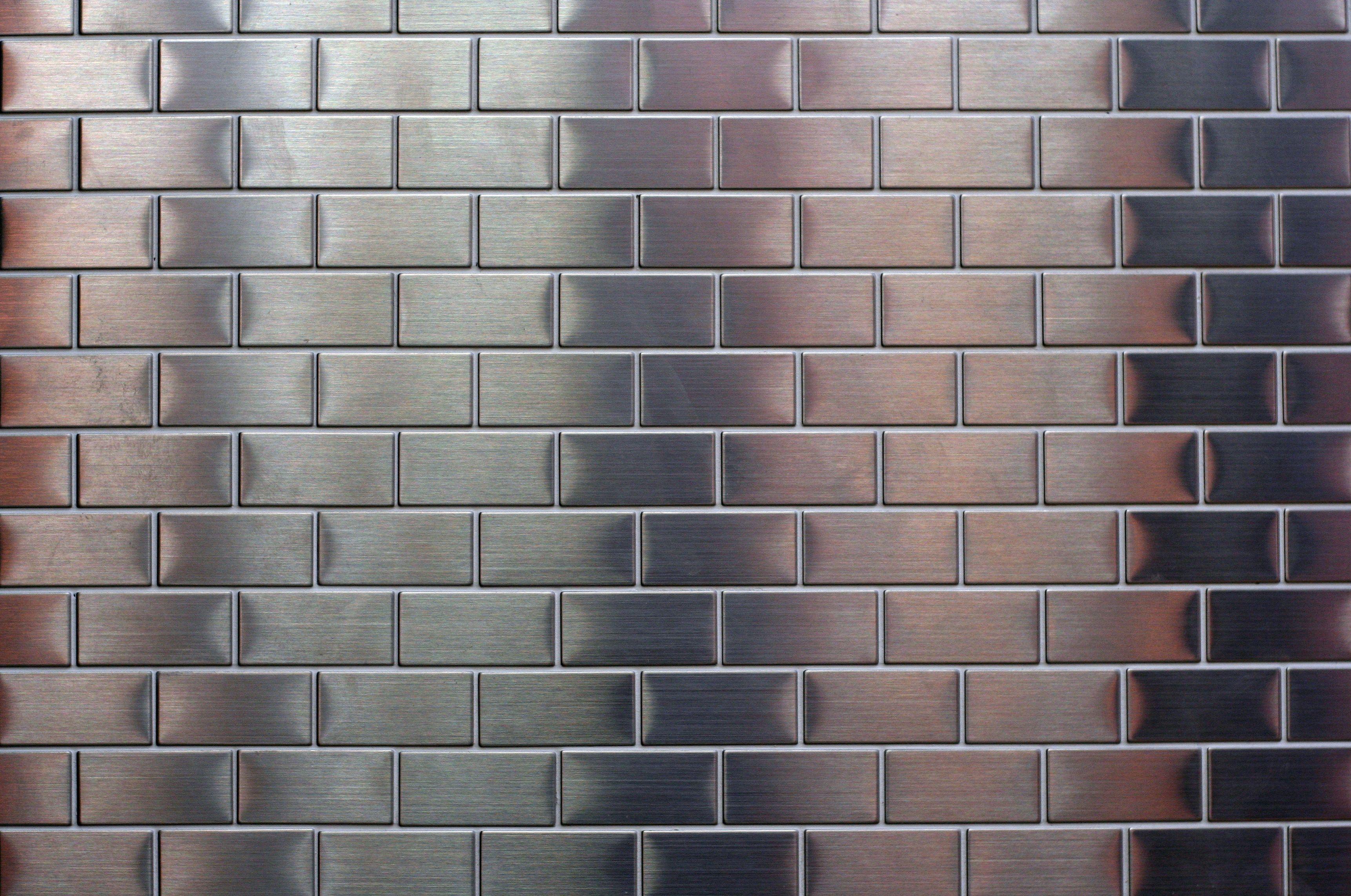 Shiny metallic small silver metal tile background free for Silver kitchen wallpaper
