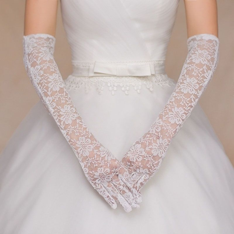 Find More Bridal Gloves Information About Whole Ivory Lace Wedding Goloves 2018 With Finger Opera Length Accessories Luvas De